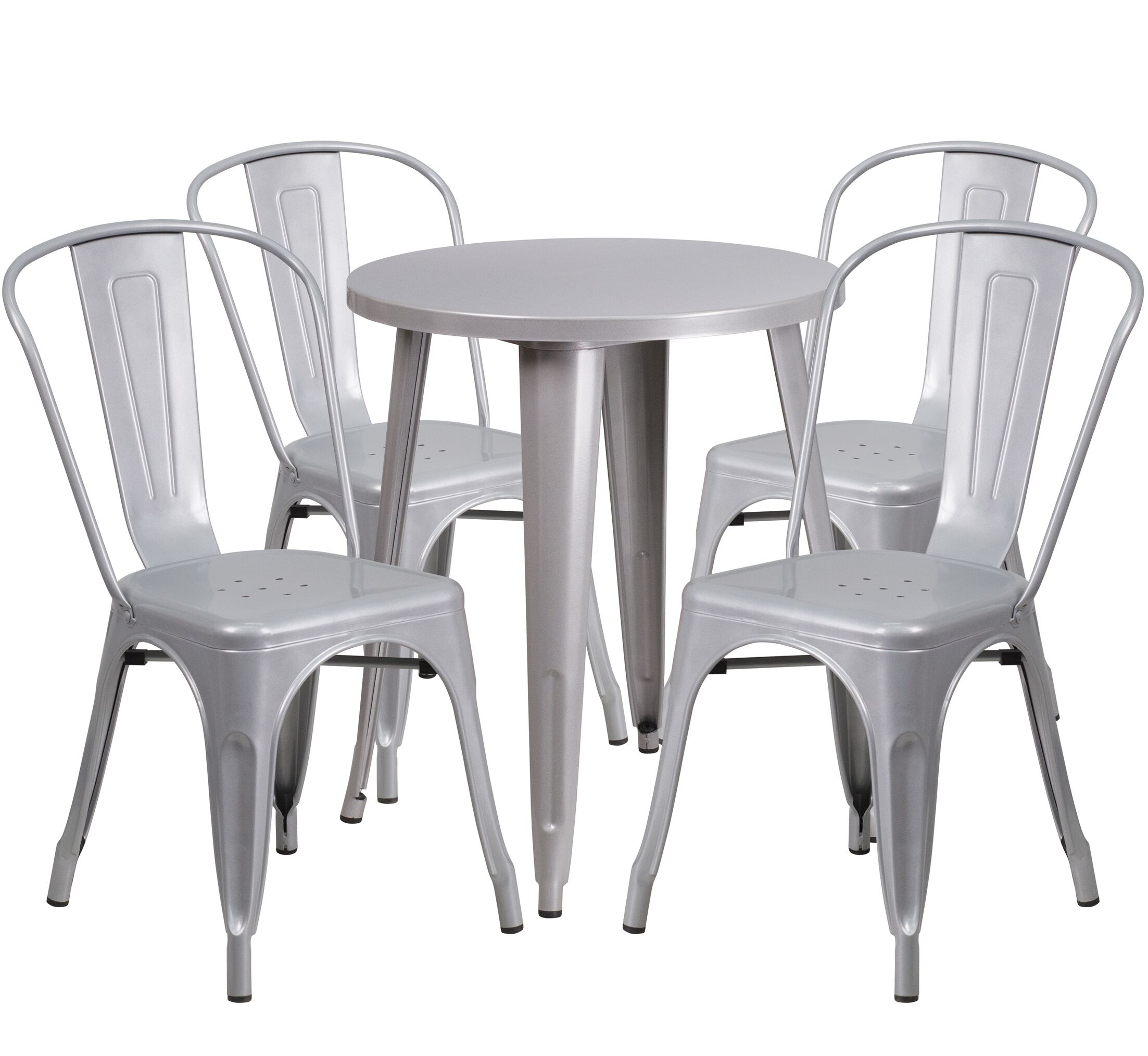 Aragon Metal Indoor/Outdoor 5 Piece Dining Set Finish: Silver