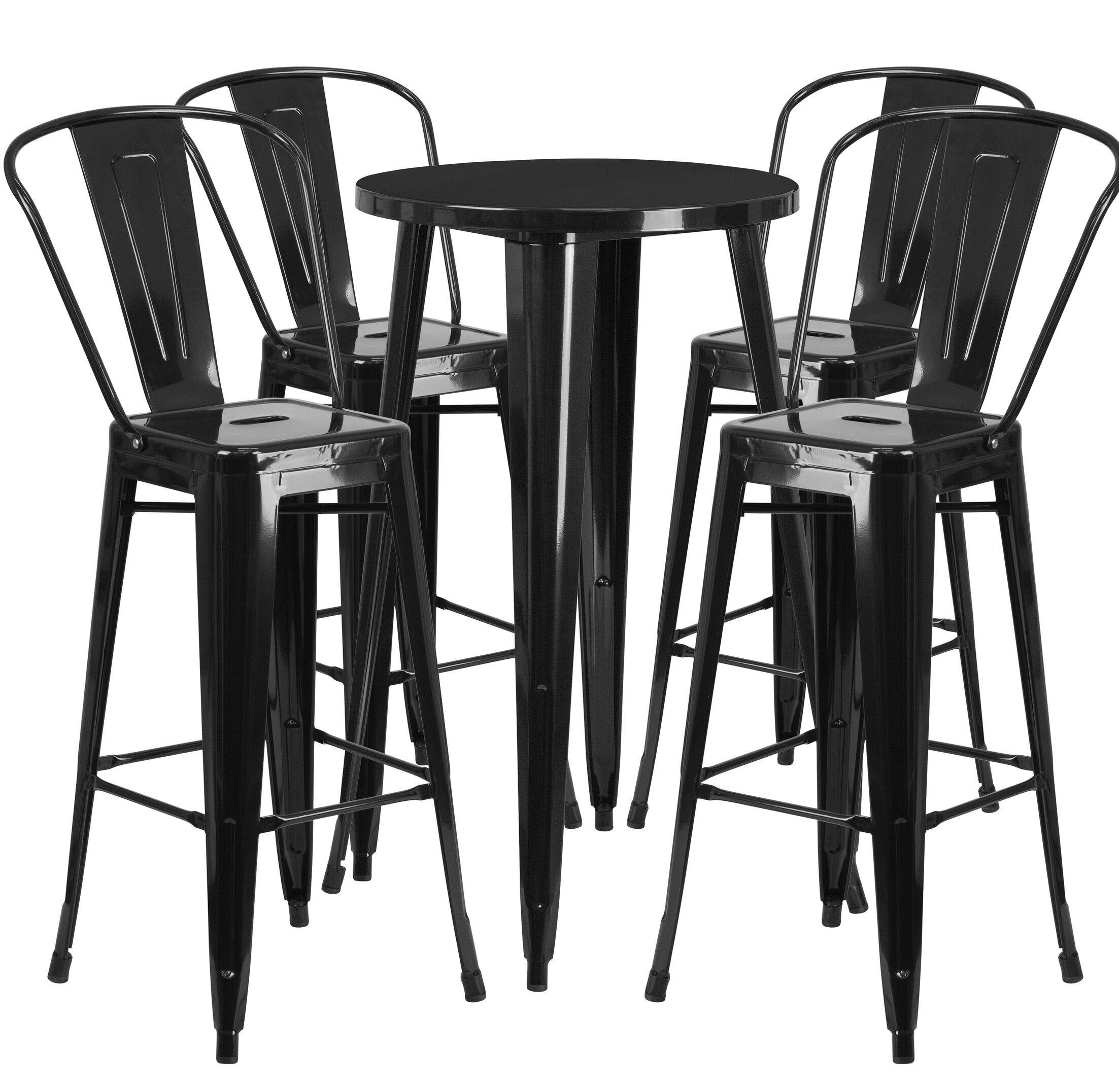 Williamston 5 Piece Bar Height Dining Set Finish: Black
