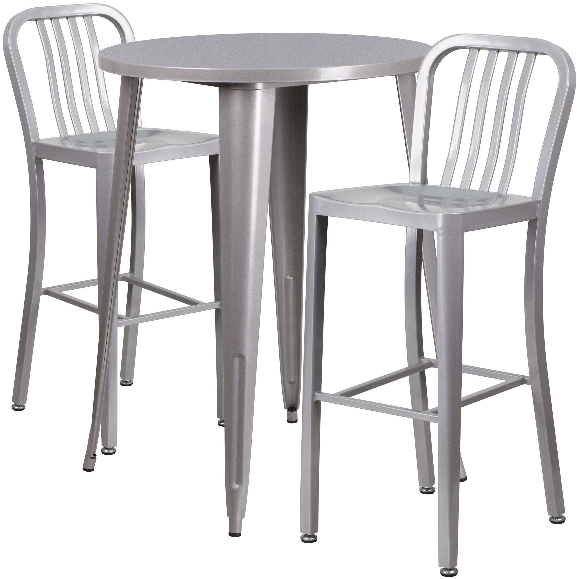 Avera 3 Piece Bar Height Dining Set Finish: Silver