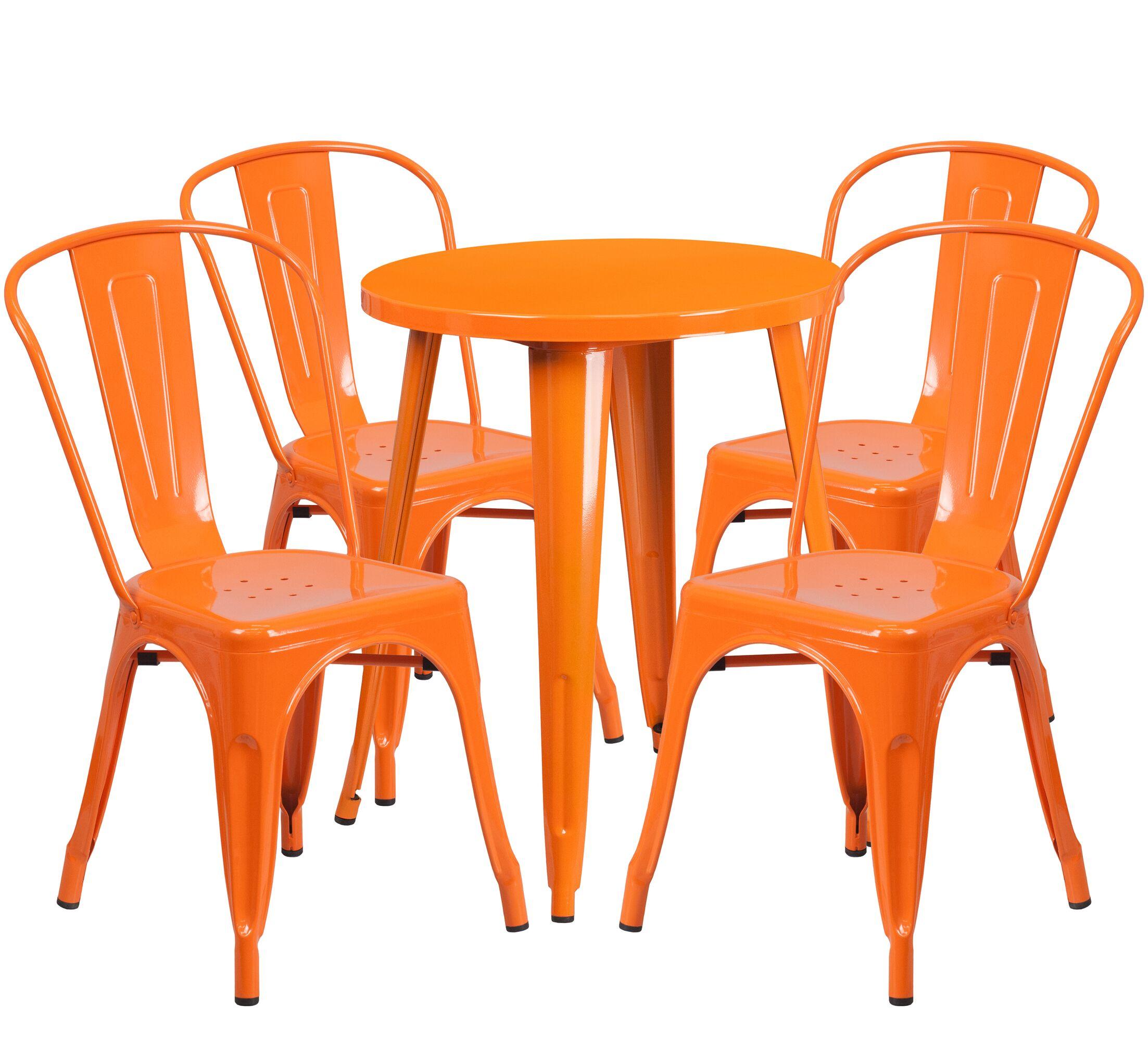 Aragon Metal Indoor/Outdoor 5 Piece Dining Set Finish: Orange