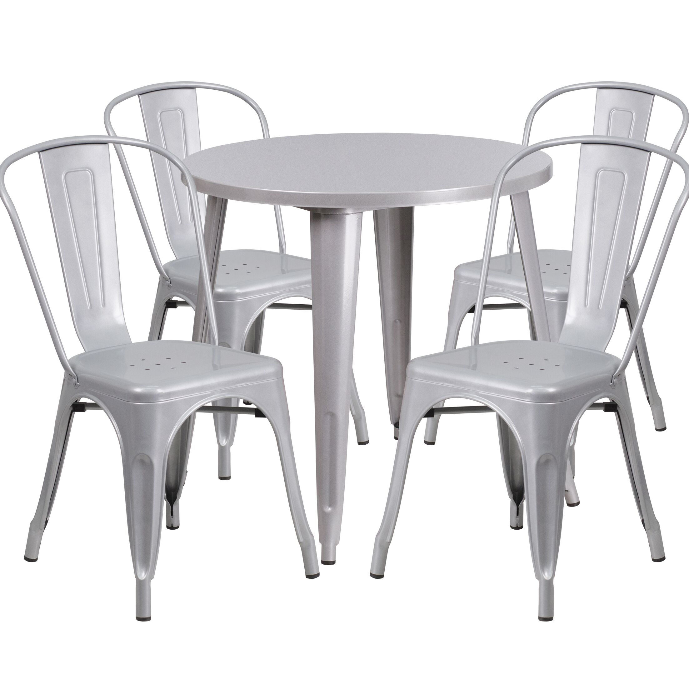 Chamblee Metal Indoor/Outdoor 5 Piece Dining Set Finish: Silver
