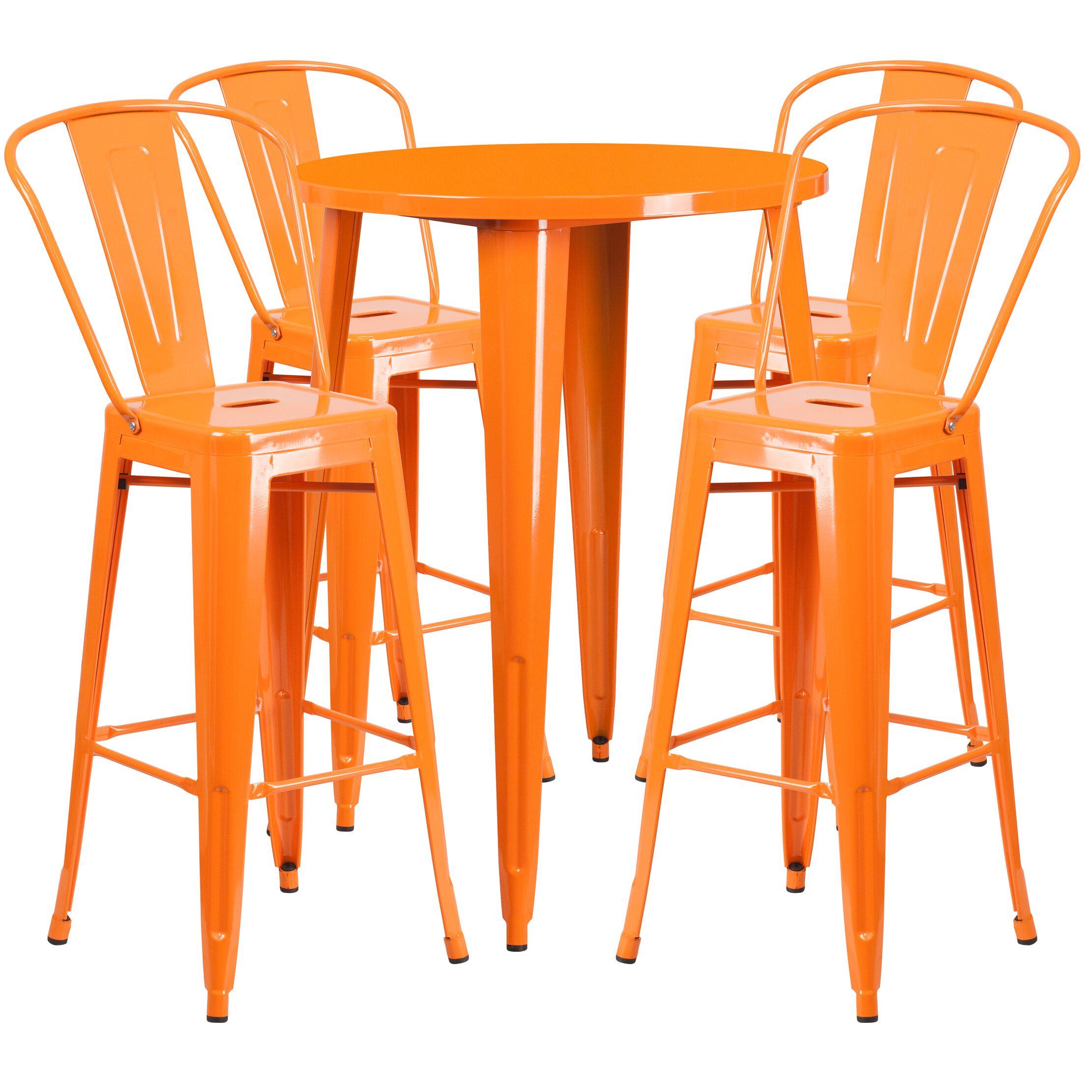 Bowdon 5 Piece Bar Height Dining Set Finish: Orange