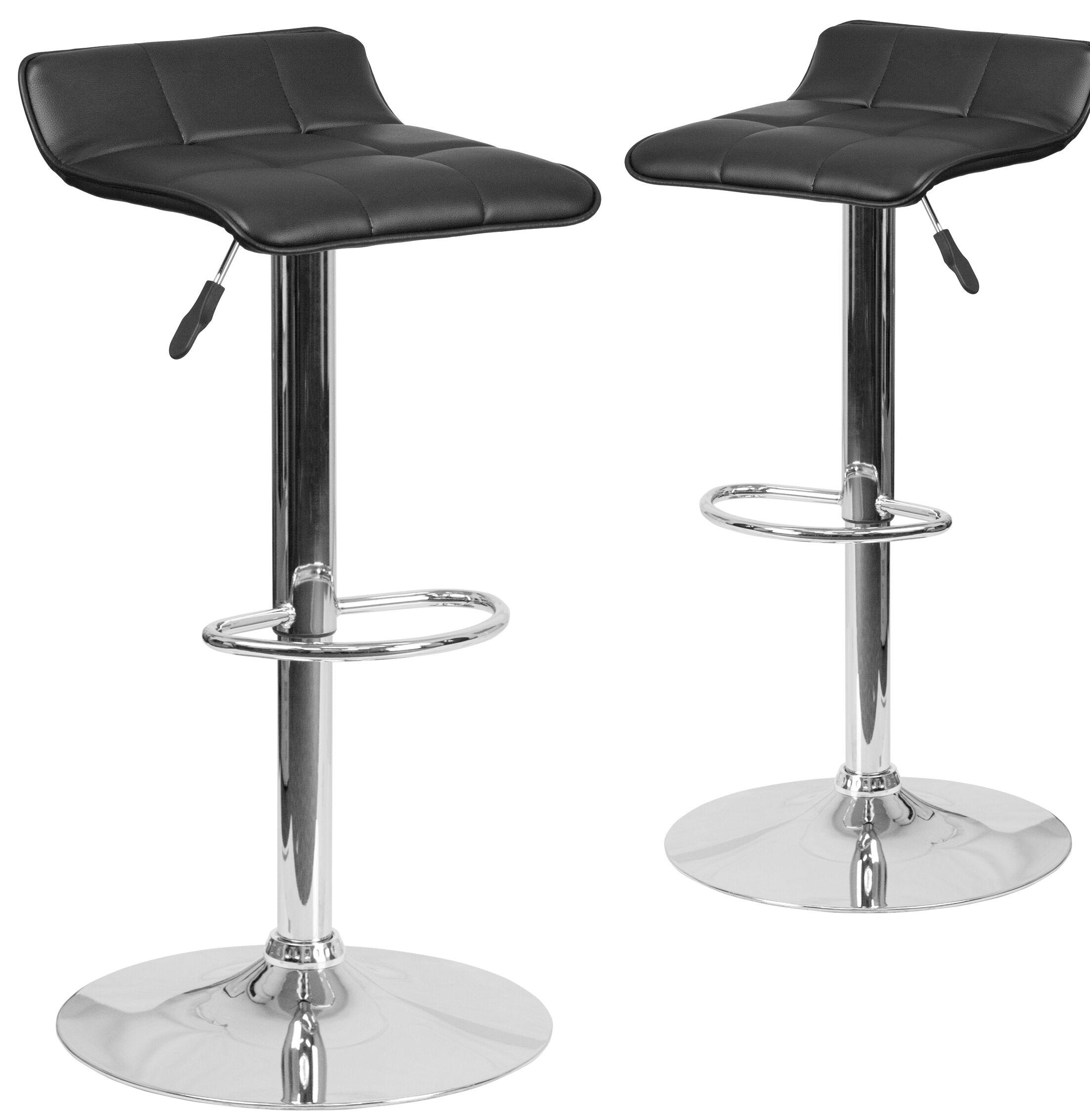 Nuno Adjustable Height Swivel Bar Stool Upholstery: Black
