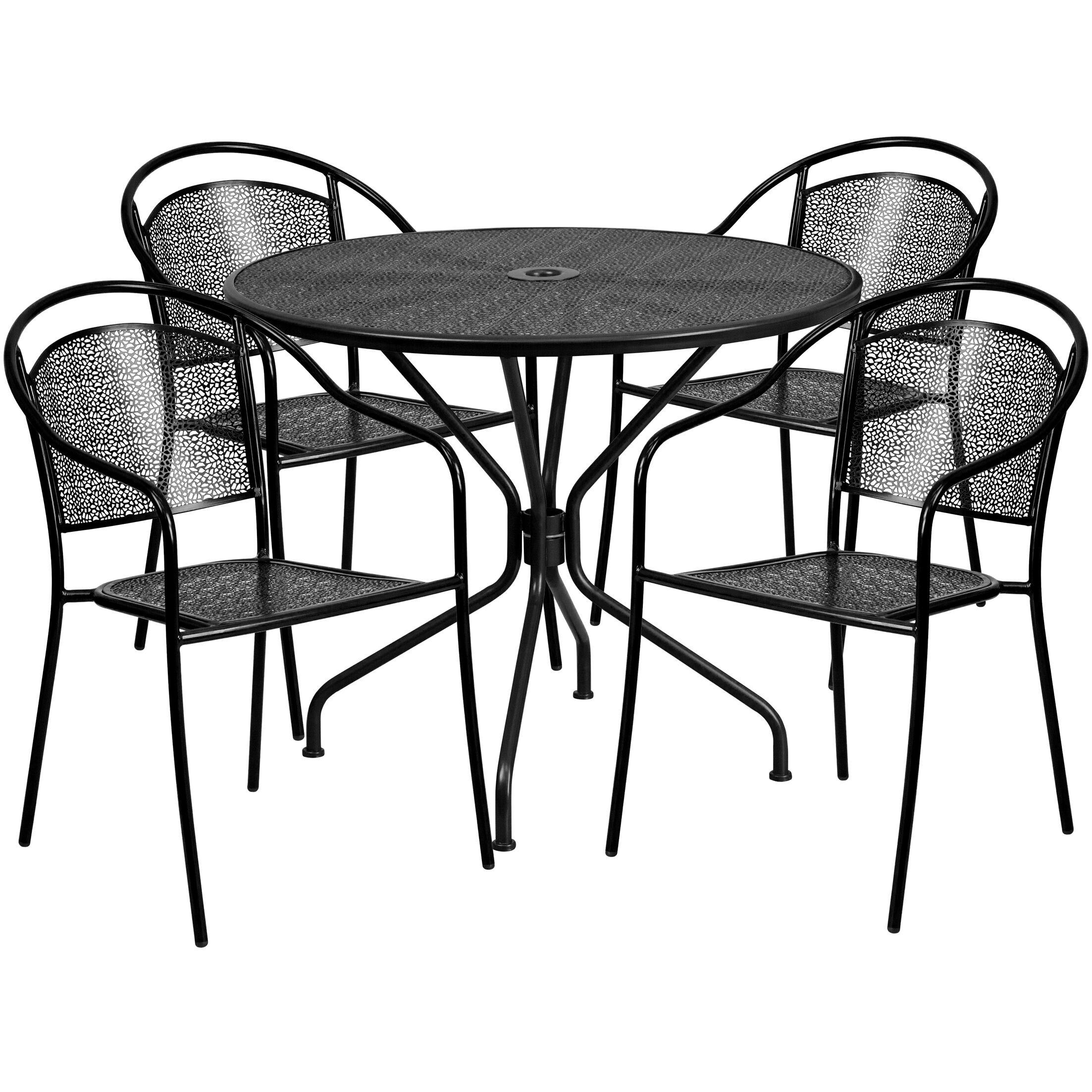 Hoyt 5 Piece Dining Set Color: Black
