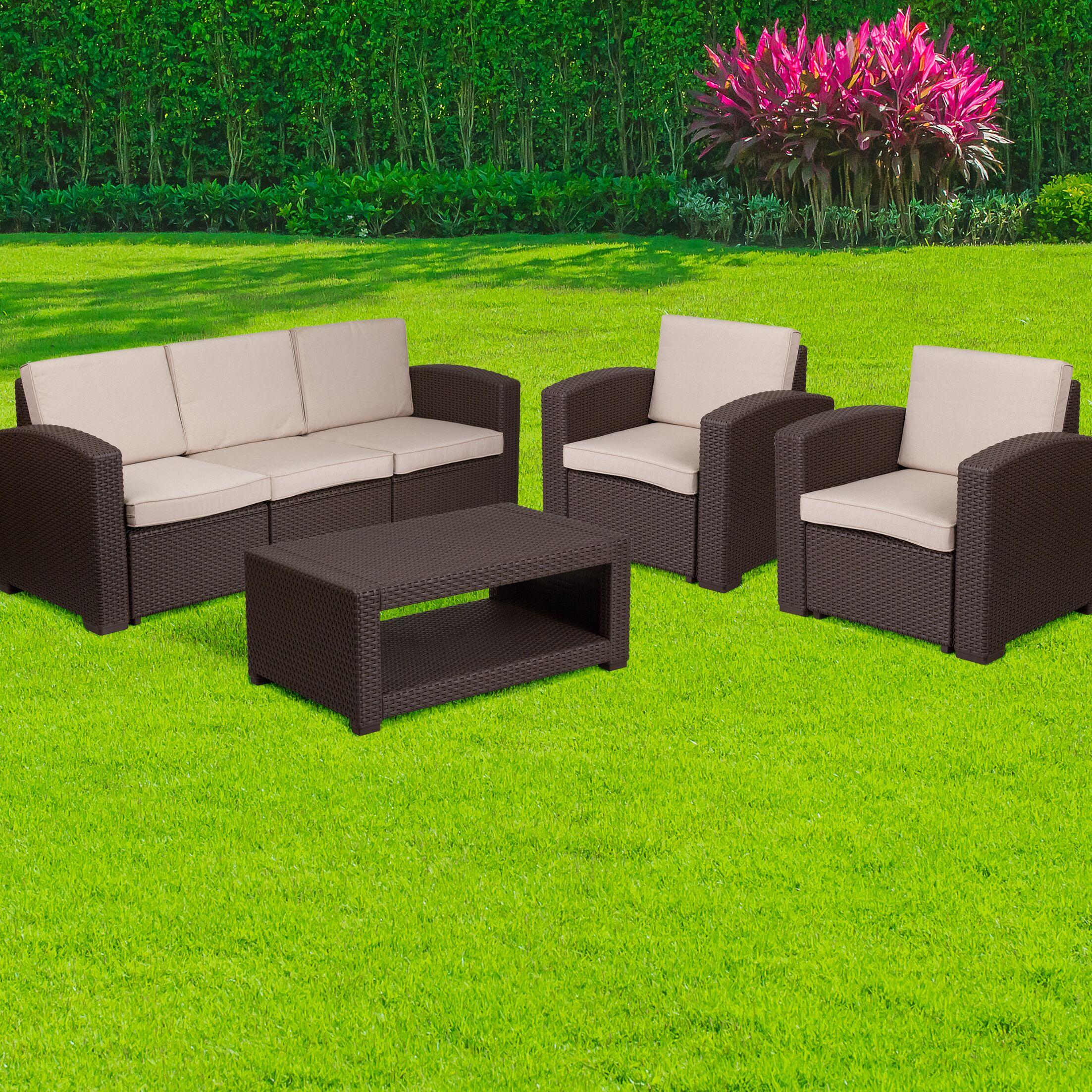Resendiz 4 Piece Rattan Sofa Set with Cushions