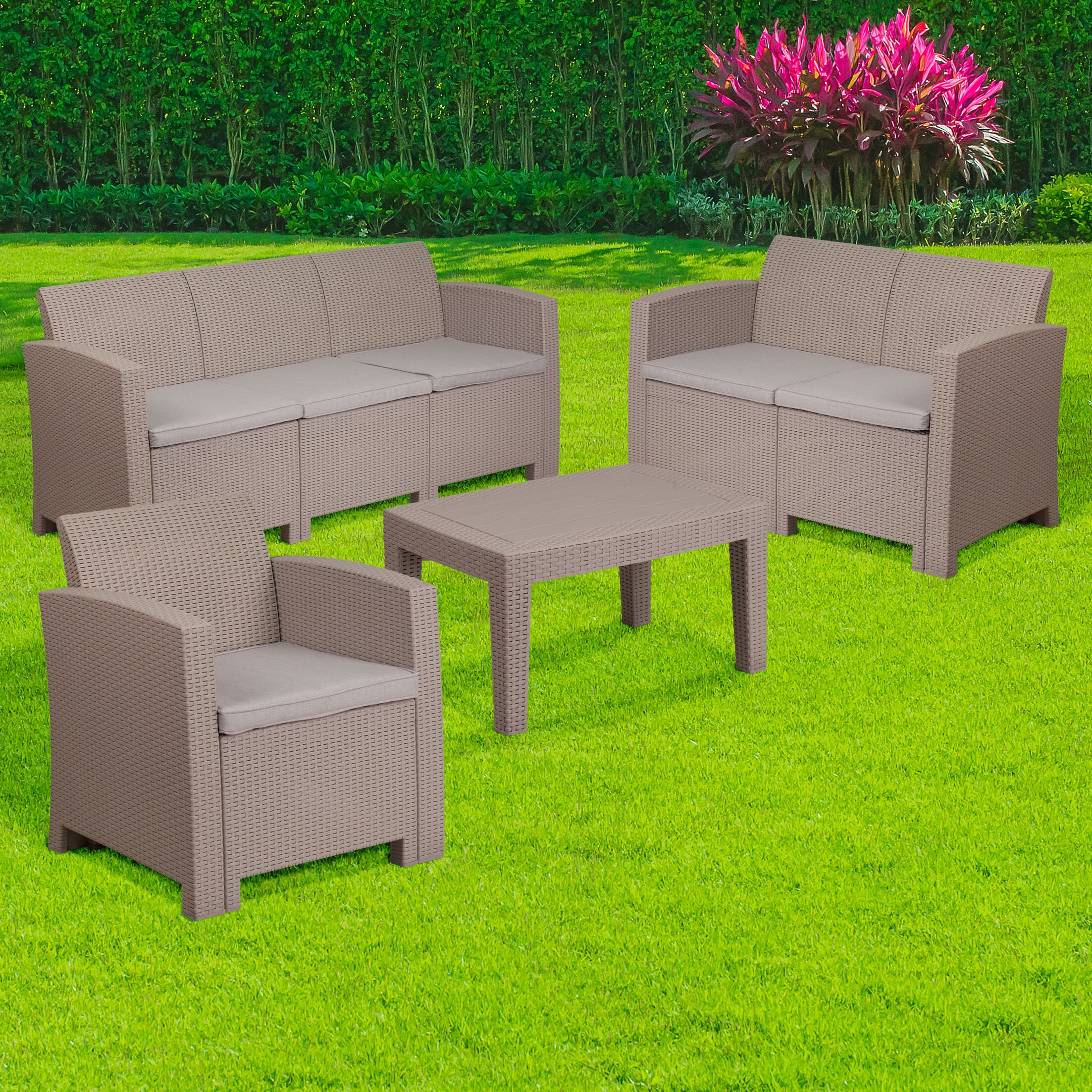 Resnick 4 Piece Rattan Sofa Set with Cushions