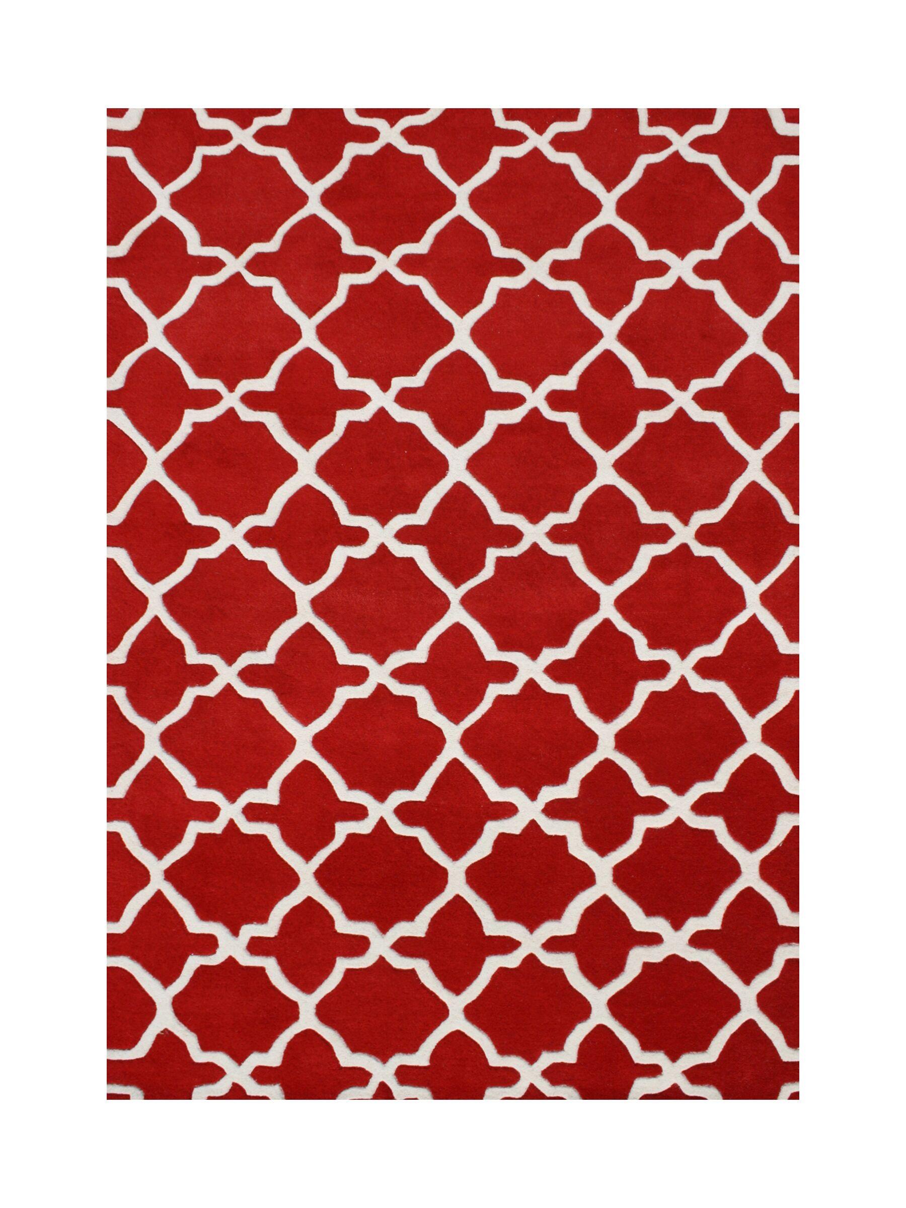 Harrietta Hand Tufted Wool Red Area Rug