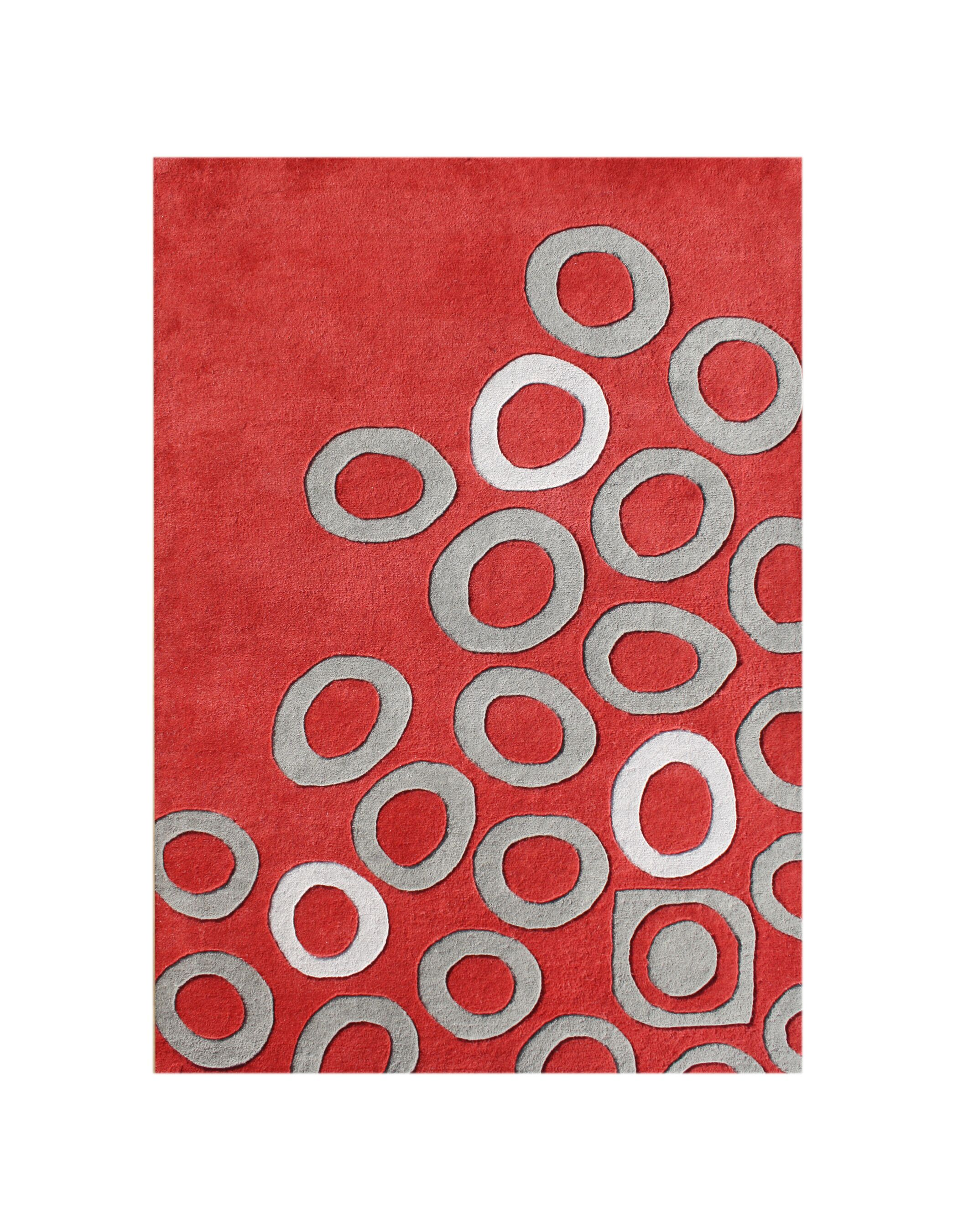 New Zealand Handmade Red Area Rug Rug Size: 5' x 8'