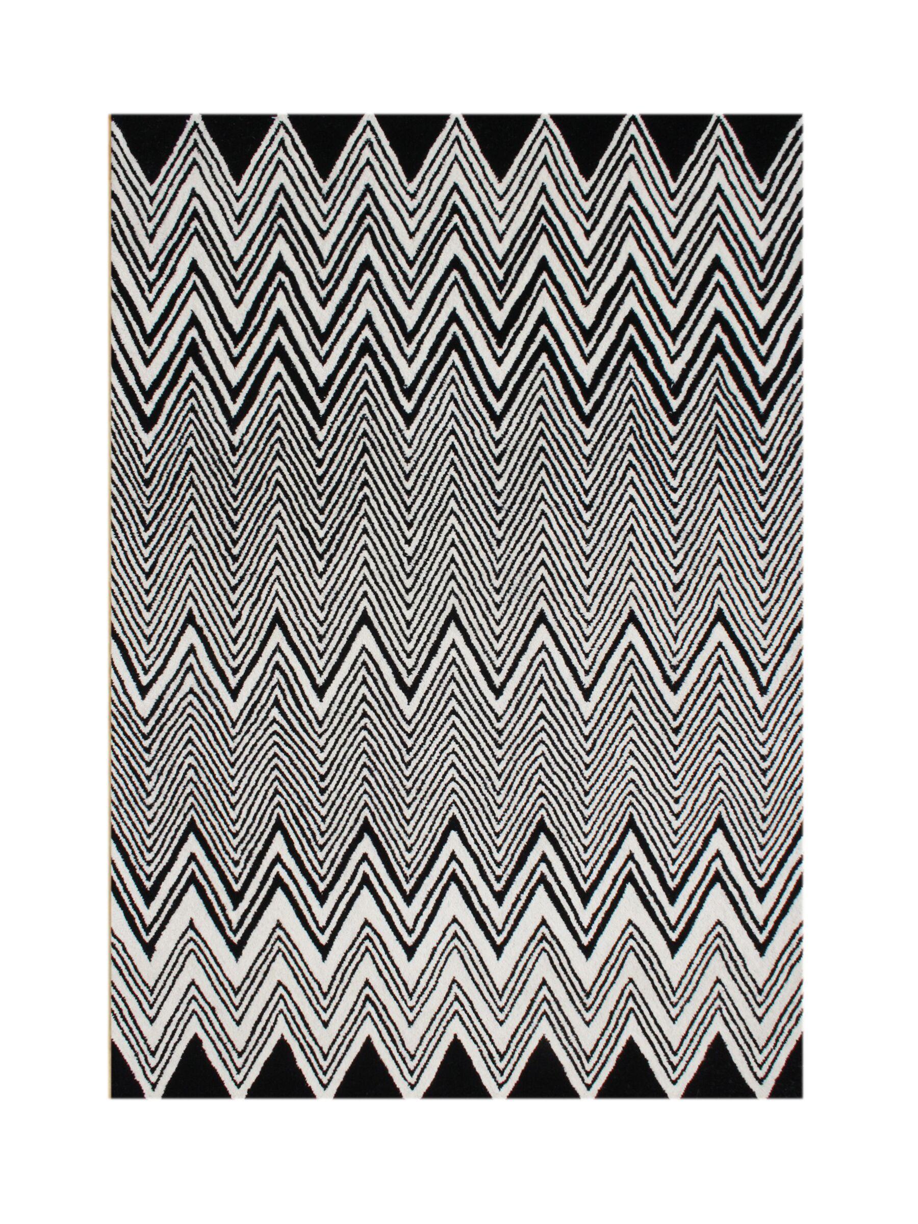 Kerber Hand Tufted Wool Black Area Rug