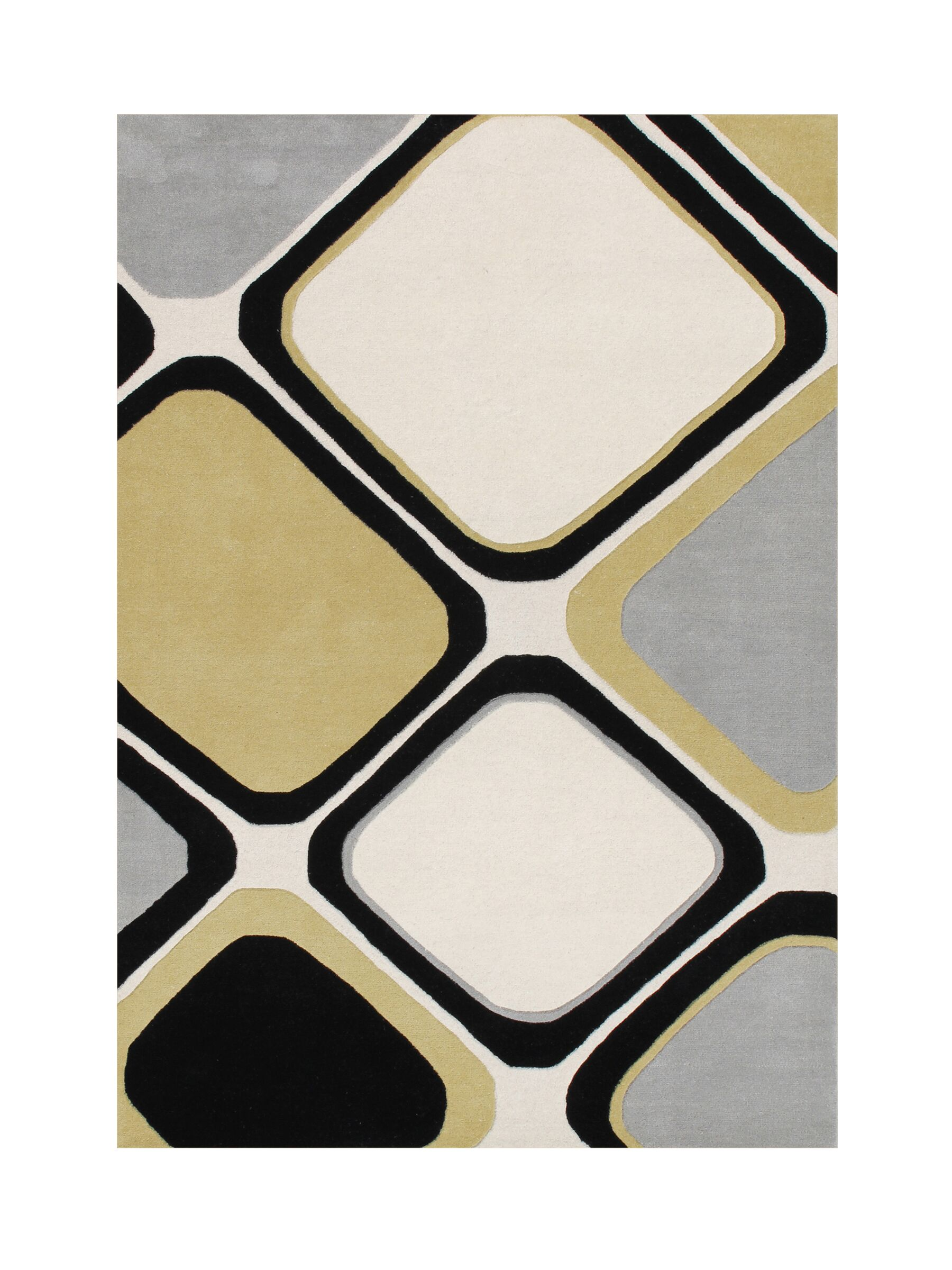 Pittsford Hand Tufted Wool Black/Steel Gray Area Rug