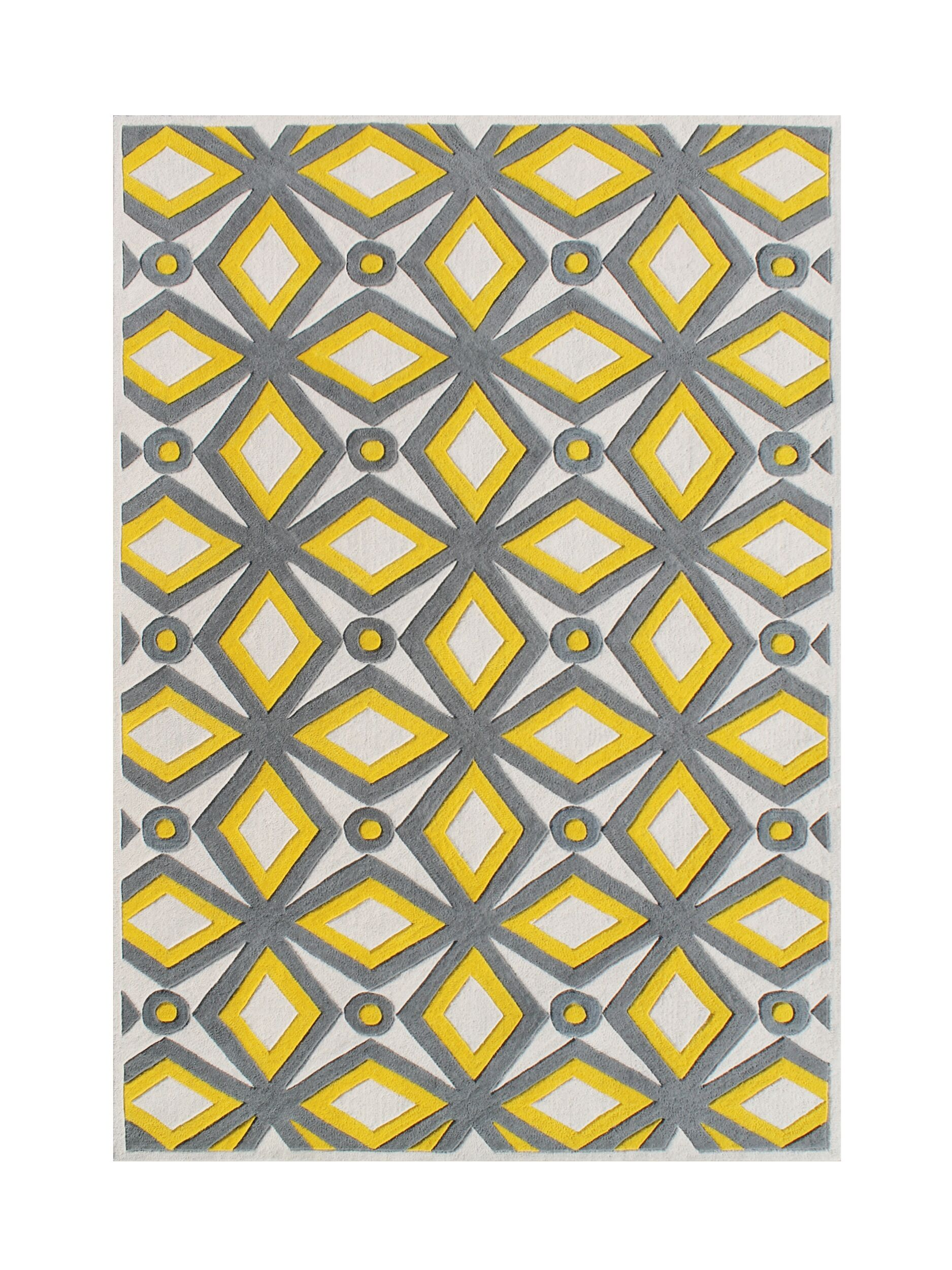 Holtzman Hand Woven Wool Yellow/Gray Indoor Area Rug Rug Size: 5' x 8'