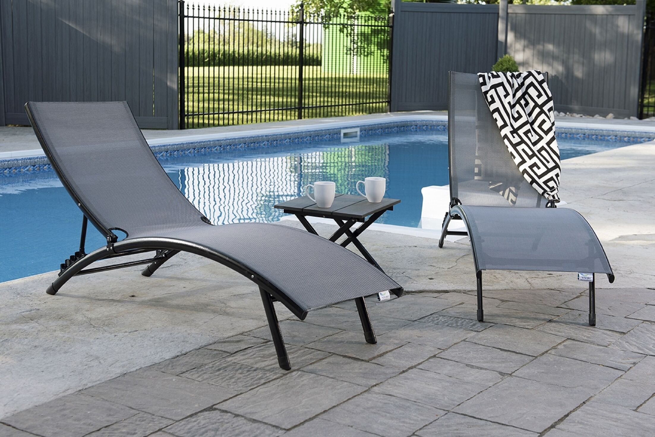Midtown 3 Piece Chaise Lounge Set Fabric: Black Chrome