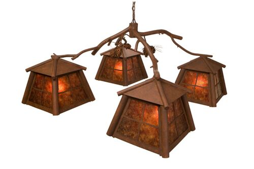 Saranac 4-Light Shaded Chandelier Finish: Mountain Brown, Shade / Lens: Bungalow Green