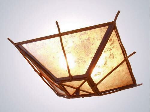 Bundle of Sticks 2-Light Flush Mount Finish: Mountain Brown, Shade Color: Slag Glass Pretended