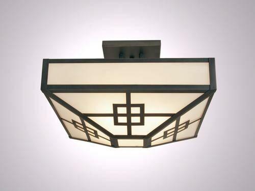 Prairie 4-Light Post Drop Semi Flush Mount Ceiling Light Finish: Black, Shade Color: White Mica