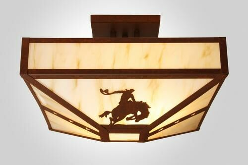 8 Seconds 4-Light Post Drop Semi Flush Mount Finish: Old Iron, Shade Color: Amber Mica