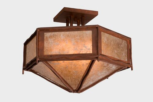 Sticks Hexagon Drop Semi Flush Mount Finish: Mountain Brown, Shade Color: Slag Glass Pretended