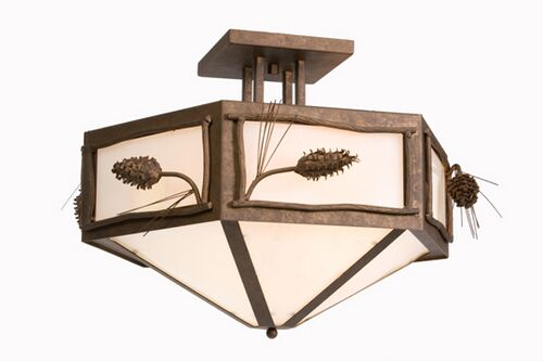 Ponderosa Pine Hexagon Drop Semi Flush Mount Finish: Mountain Brown, Shade Color: Khaki