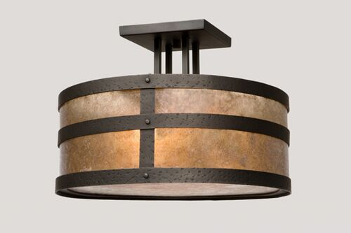 Portland Round Drop Semi Flush Mount Finish: Mountain Brown, Shade Color: White Mica