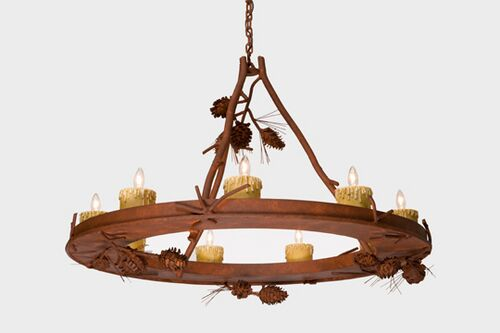 Ponderosa Pine 9-Light Wagon Wheel Chandelier Finish: Rust