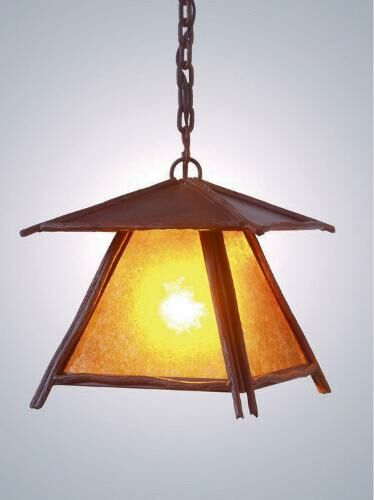 Bundle of Sticks 1-Light Lantern Pendant Finish: Old Iron, Shade / Lens: Amber Mica