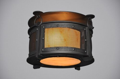 Rogue River 1-Light Harstene Mesh Flush Mount Finish: Architectural Bronze, Shade Color: Amber Mica
