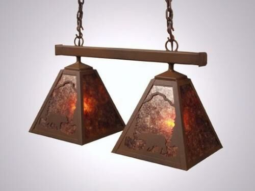 Bear Double Anacosti Light Pendant Finish: Mountain Brown, Shade / Lens: White Mica