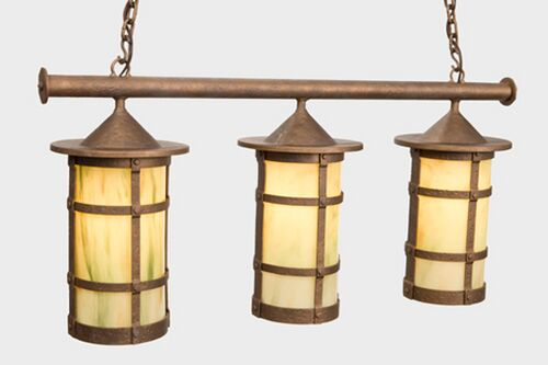 San Carlos Pasadena Triple Anacosti Light Pendant Finish: Rust, Shade / Lens: Amber Mica