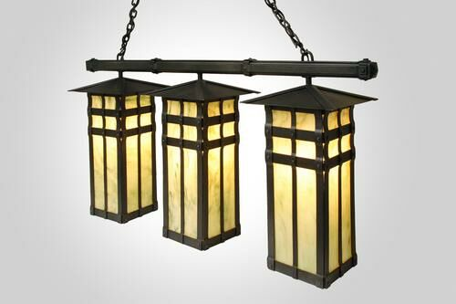 San Carlos Triple Anacosti Light Pendant Finish: Rust, Shade / Lens: Khaki