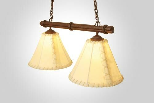 Sticks Round Rawhide Double Anacosti Light Pendant Finish: Mountain Brown, Shade / Lens: Antique Rawhide