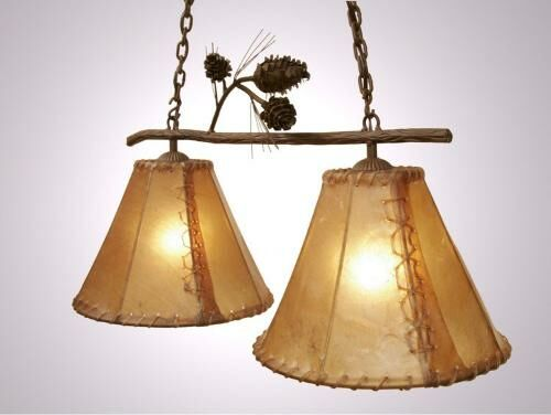 Ponderosa Pine Round Rawhide Double Anacosti Light Pendant Finish: Mountain Brown, Shade / Lens: Antique Rawhide
