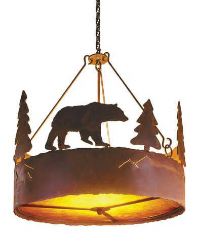 Bear 3-Light Chandelier Finish: Rust, Shade / Lens: Amber Mica