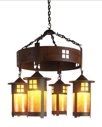 Pasadena 4-Light Shaded Chandelier Finish: Mountain Brown, Shade / Lens: Slag Glass Pretended