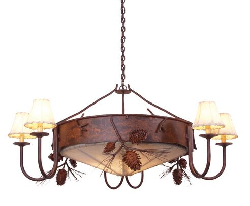 Ponderosa Pine 3-Light Shaded Chandelier Finish: Mountain Brown, Shade / Lens: Antique Rawhide