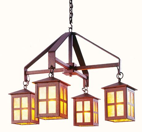 Old Faithful 4-Light Shaded Chandelier Finish: Old Iron, Shade / Lens: Bungalow Green