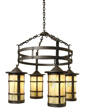 San Carlos 4-Light Shaded Chandelier Finish: Architectural Bronze, Shade / Lens: White Mica