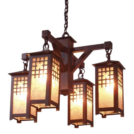 San Marcos 4-Light Shaded Chandelier Finish: Mountain Brown, Shade / Lens: Amber Mica