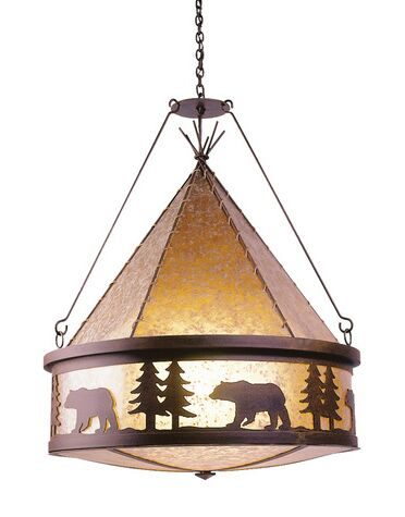Bear 3-Light Shaded Chandelier Finish: Rust, Shade / Lens: White Mica