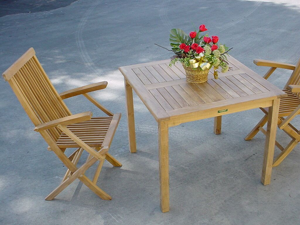 Farnam 3 Piece Teak Bistro Set with Sunbrella Cushions Fabric: Dupione Palm