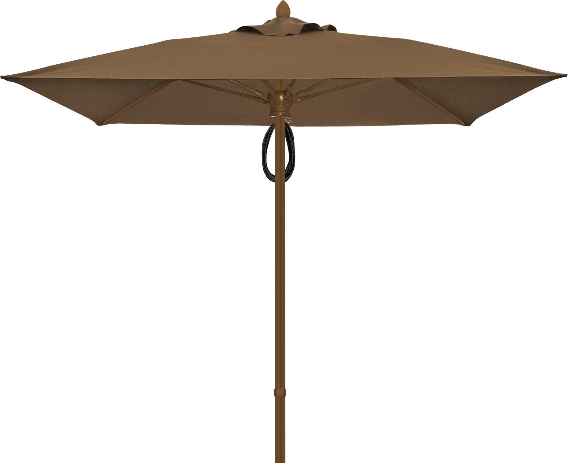 Prestige 6' Square Market Umbrella Frame Finish: White, Fabric: Cocoa