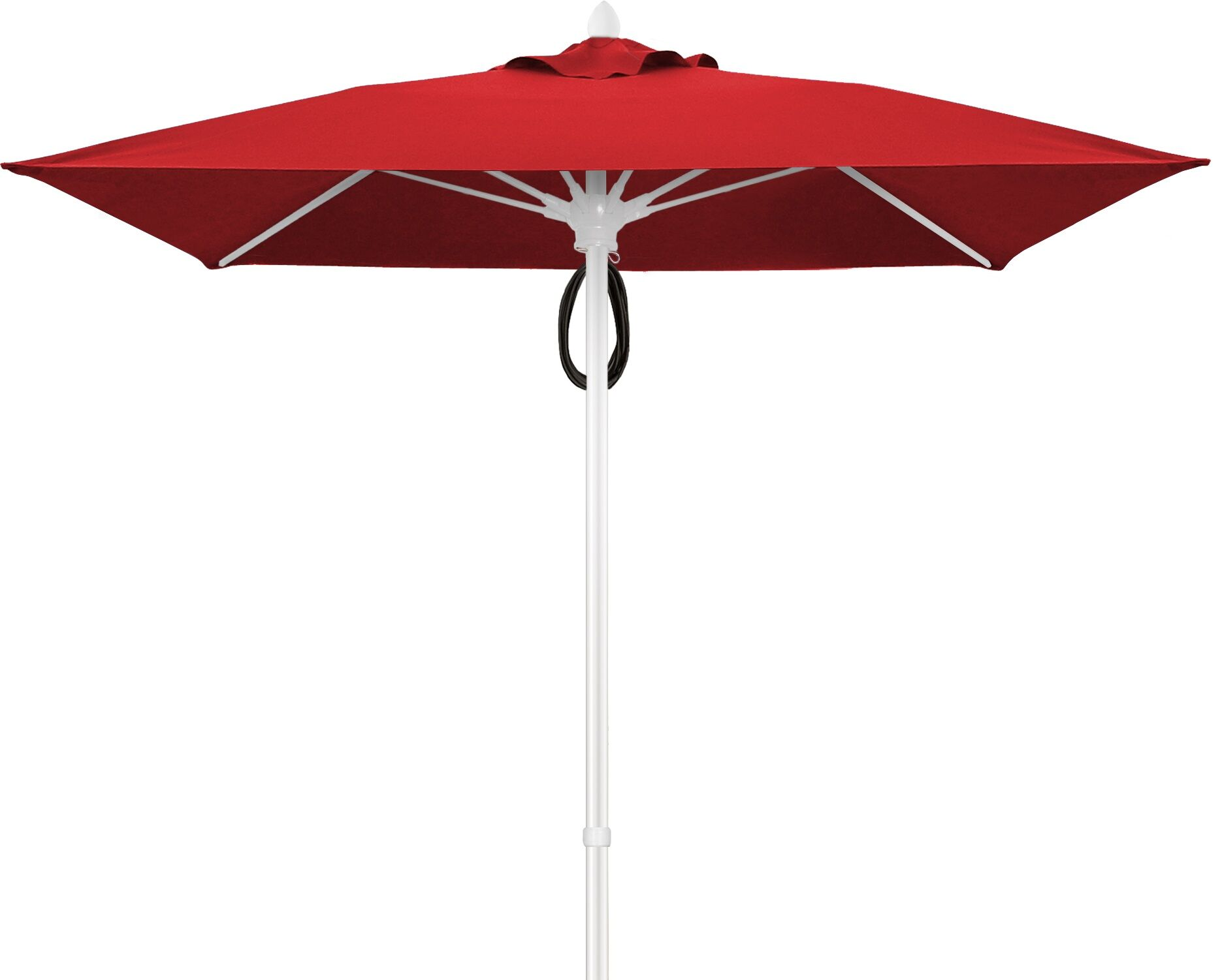 Prestige 7.5' Square Market Umbrella Frame Finish: White, Fabric: Jockey Red