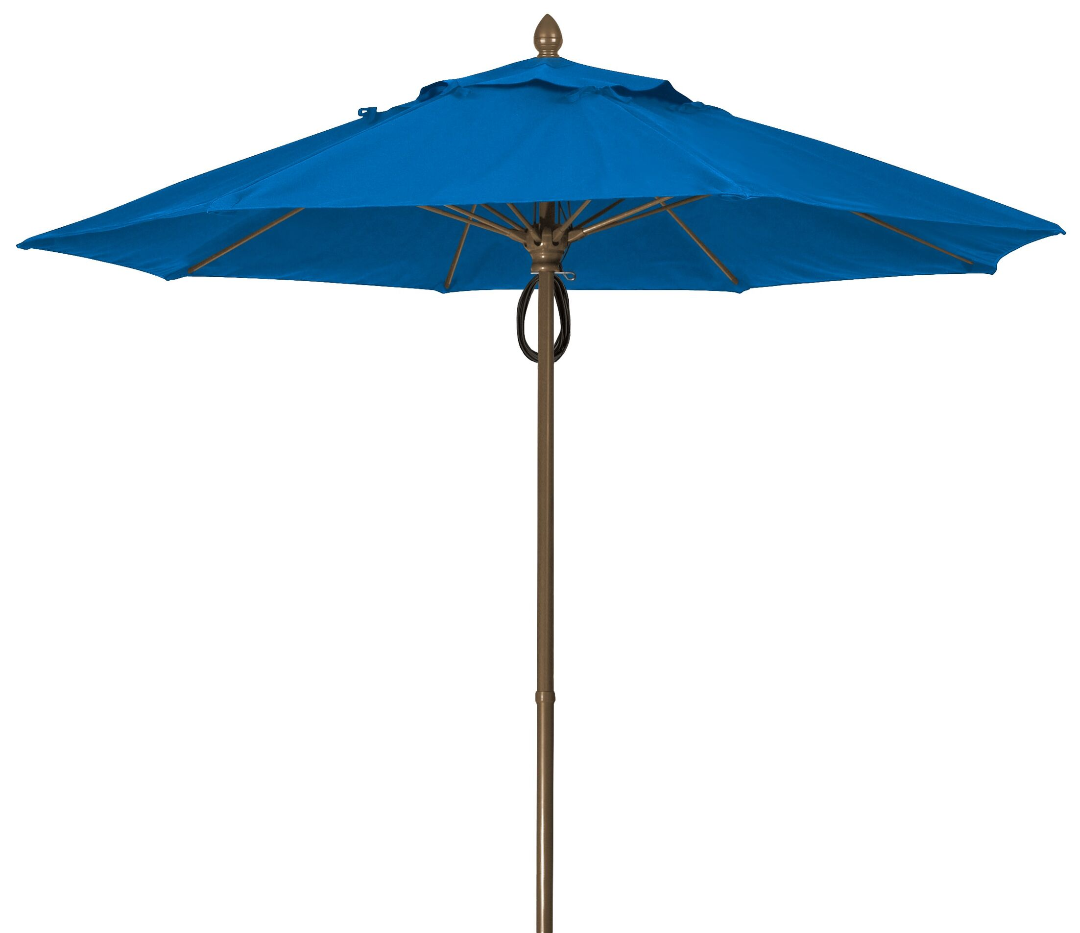 Prestige 9' Market Umbrella Fabric: Pacific Blue, Frame Finish: Champagne Bronze