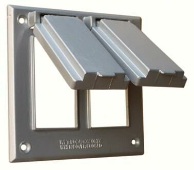 Two Gang Weatherproof Covers in Gray for 2 GFCI Receptacles