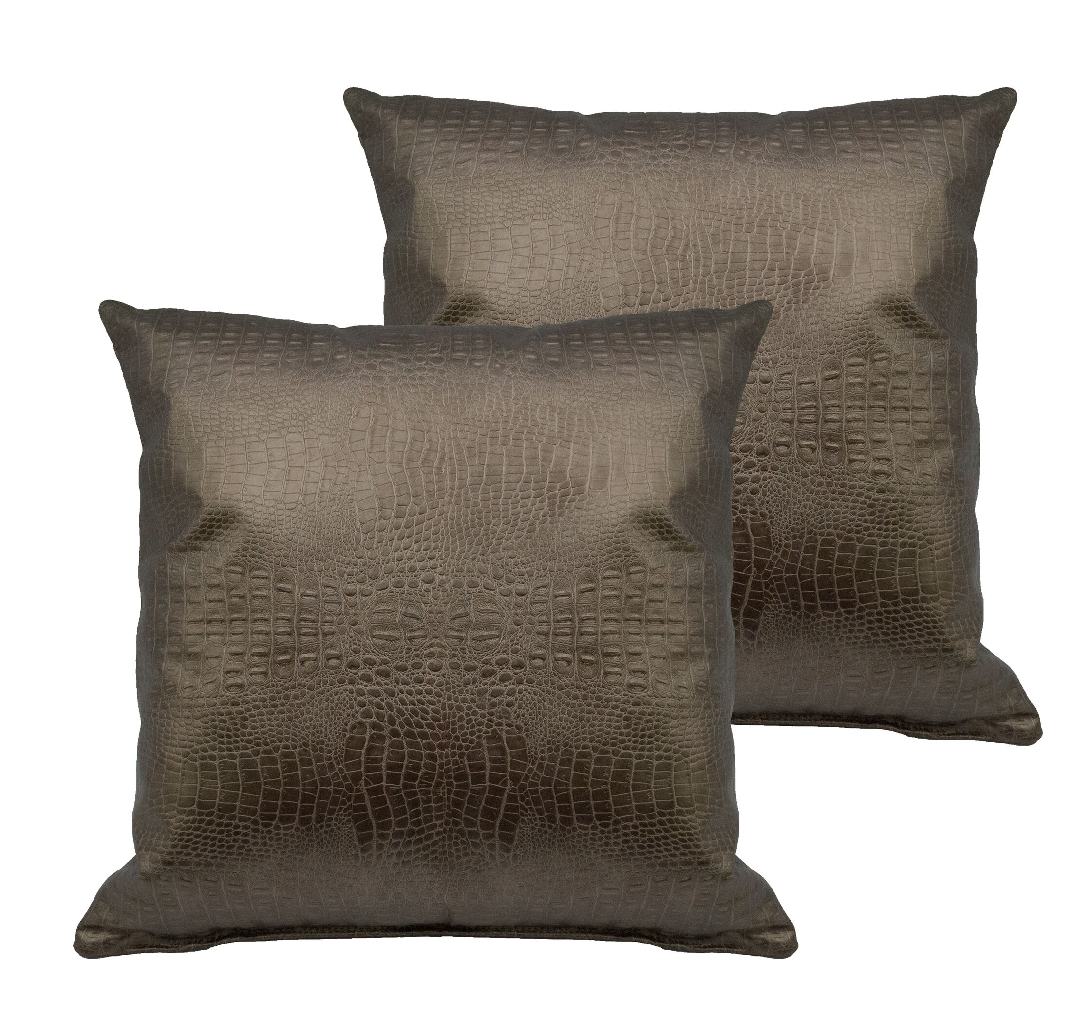 Alligator Throw Pillow Color: Gold Bronze