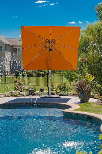 Aurora 9' Square Cantilever Umbrella Color: Orange