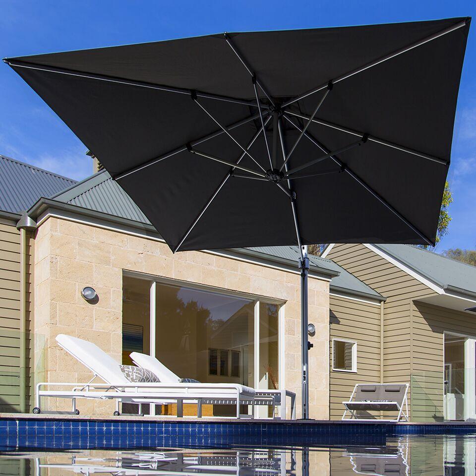Aurora 9' Square Cantilever Umbrella Color: Coral