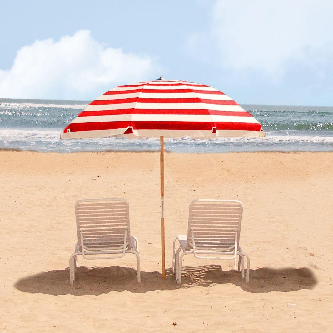 7.5' Beach Umbrella Fabric: Red / White Stripe