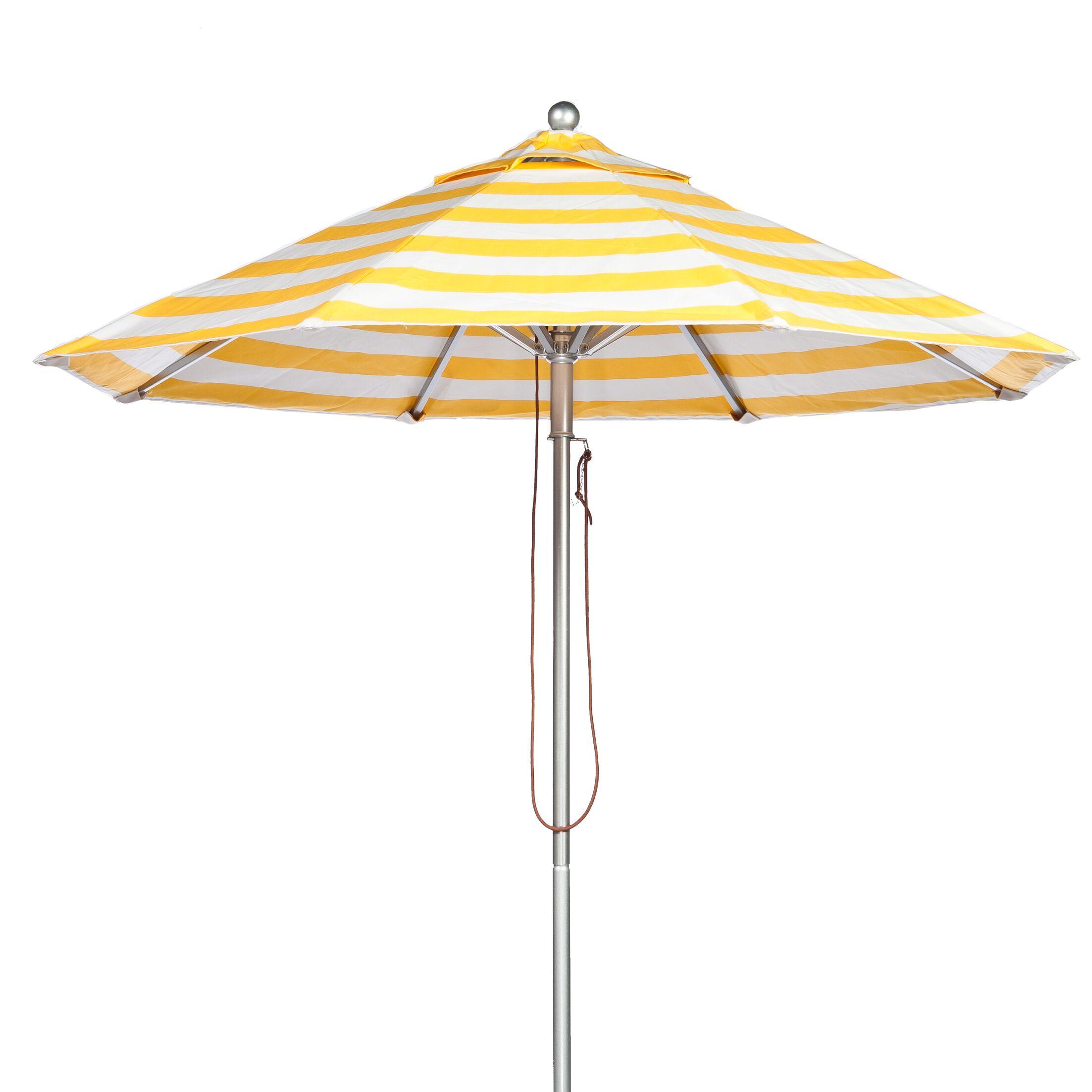 11' Market Umbrella Fabric: Yellow and White Stripe