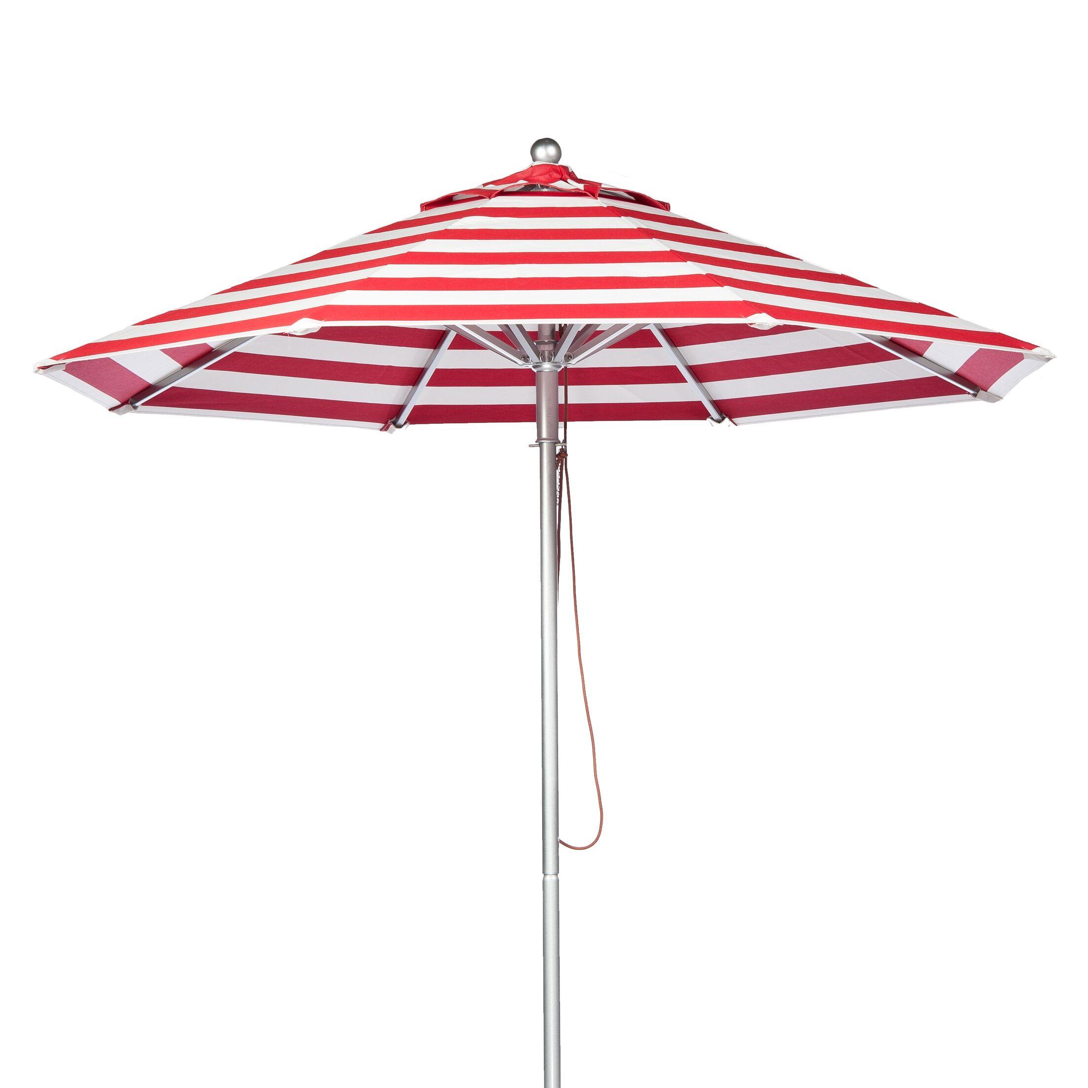 11' Market Umbrella Fabric: Red and White Stripe