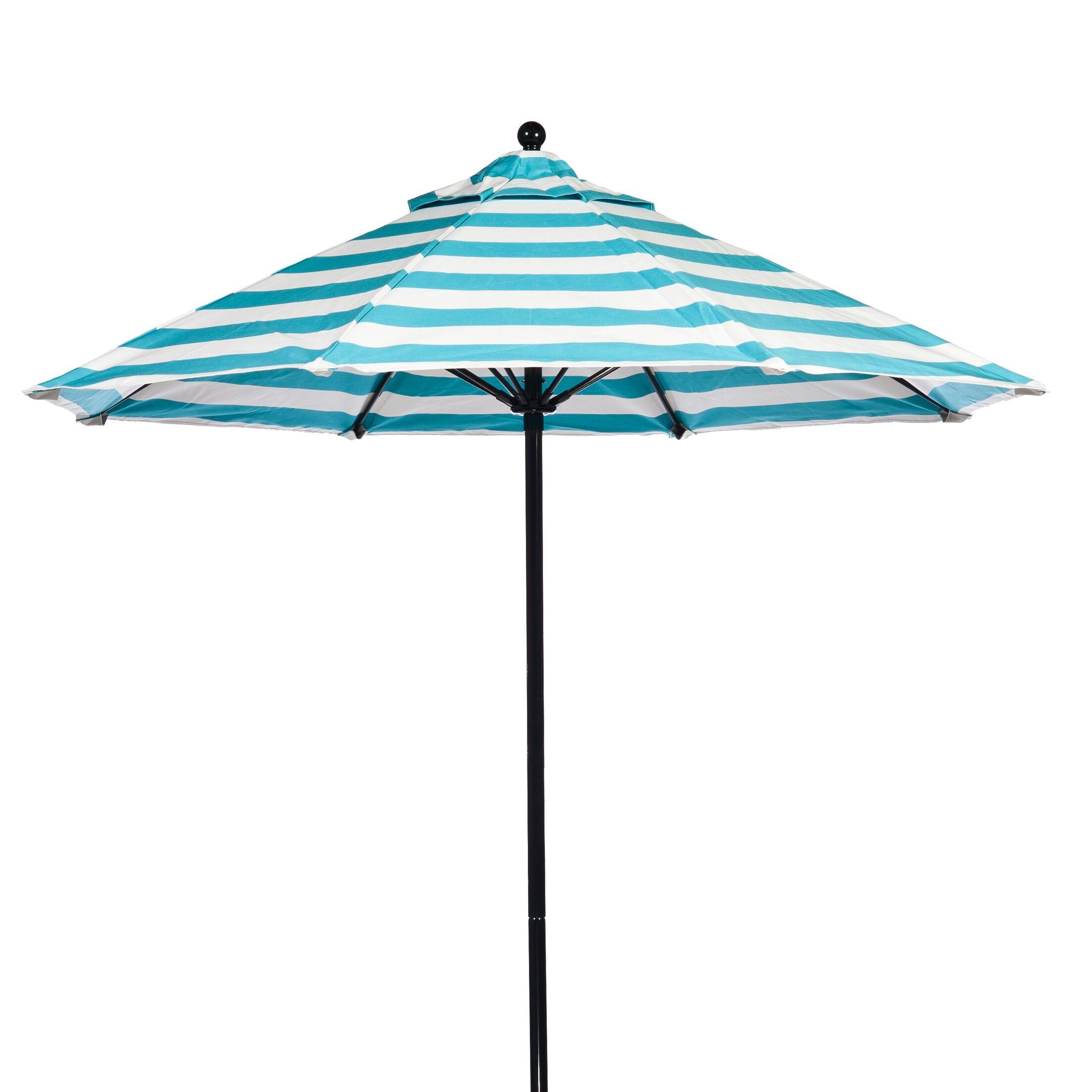 7.5' Market Umbrella Fabric: Turquoise and White Stripe, Pole Type: Black Coated Aluminum Pole